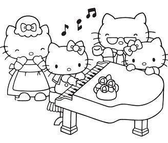Hello Kitty Playing Piano With Family Coloring Page