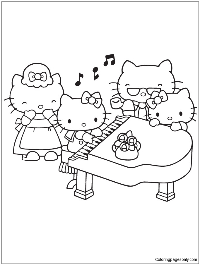 Playing Piano With Family Coloring Page
