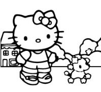Hello Kitty Playing With Dog