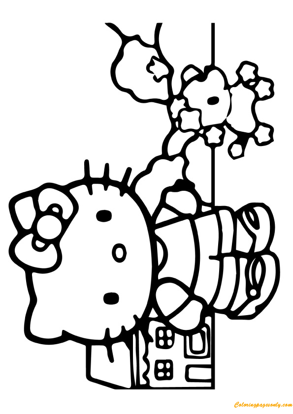 Hello Kitty Playing With Dog Coloring Page