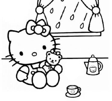 Hello Kitty Playing With Her Doll