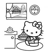 Hello Kitty Prepares For Christmas Coloring Page