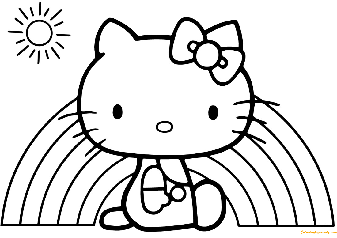 Hello Kitty Rainbow Coloring Page - Free Coloring Pages Online