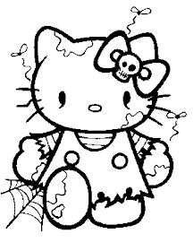 Hello Kitty ready for Halloween Coloring Page
