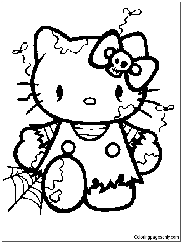 Hello Kitty Ready For Halloween Coloring Page Free Coloring Pages Online