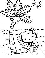 Hello Kitty Relaxes On The Beach