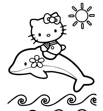 Hello Kitty Rides A Dolphin
