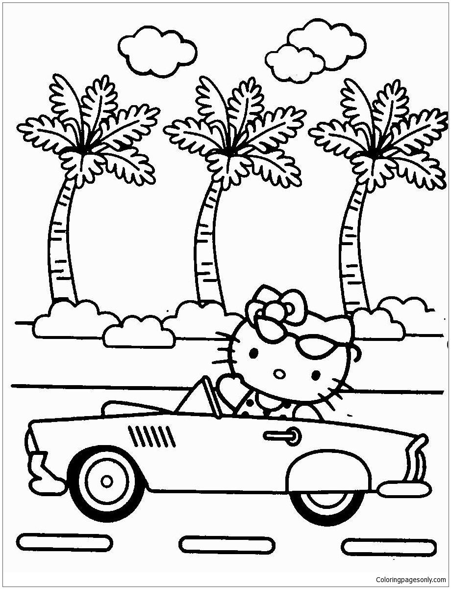 Hello Kitty Riding A Car Coloring Page