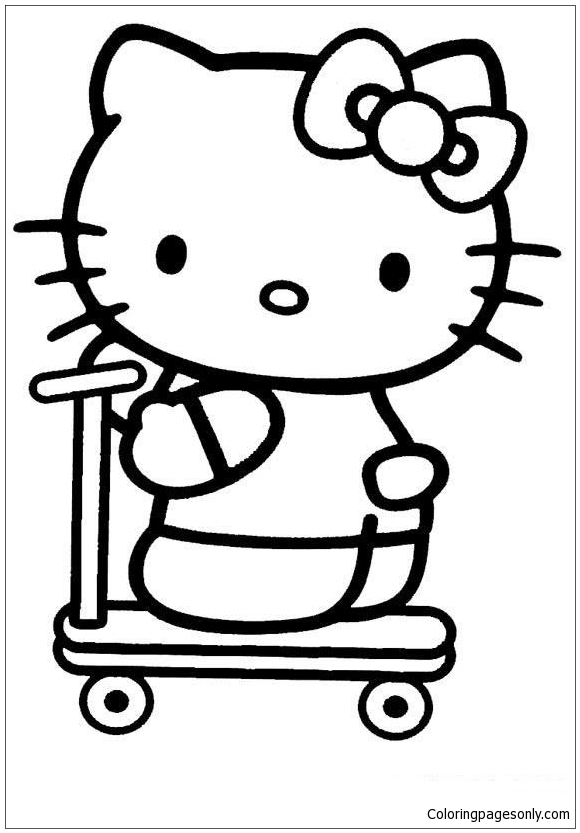 Hello Kitty Riding A Scooter Coloring Page