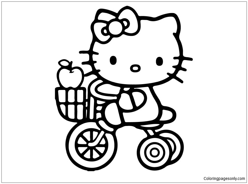 Hello Kitty Riding Cycle Coloring Page
