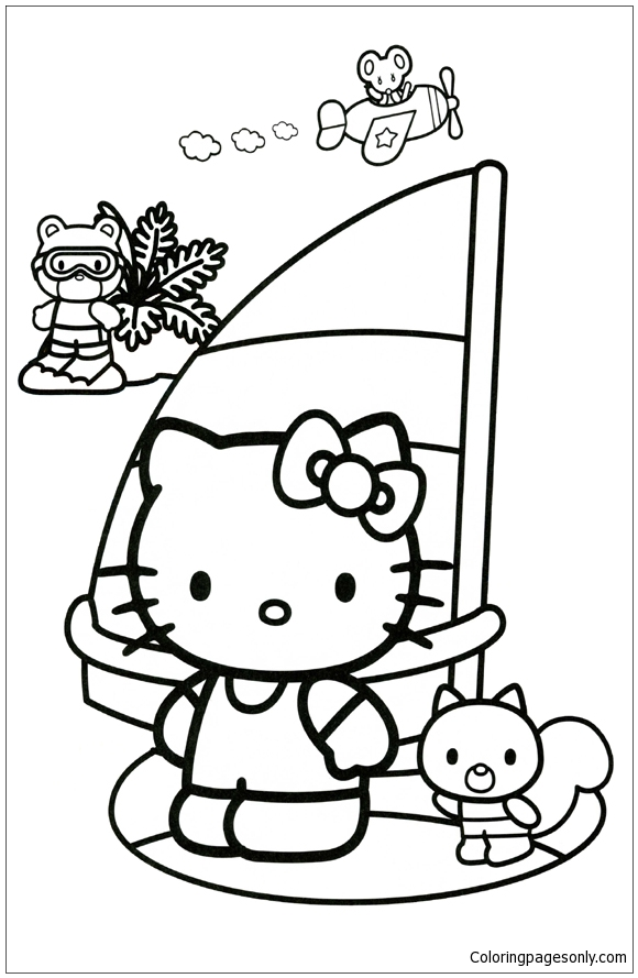 Hello Kitty Sailing Coloring Page