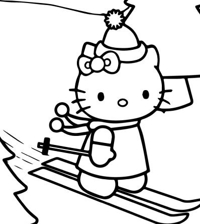 Hello Kitty Skating On Christmas Day Coloring Page