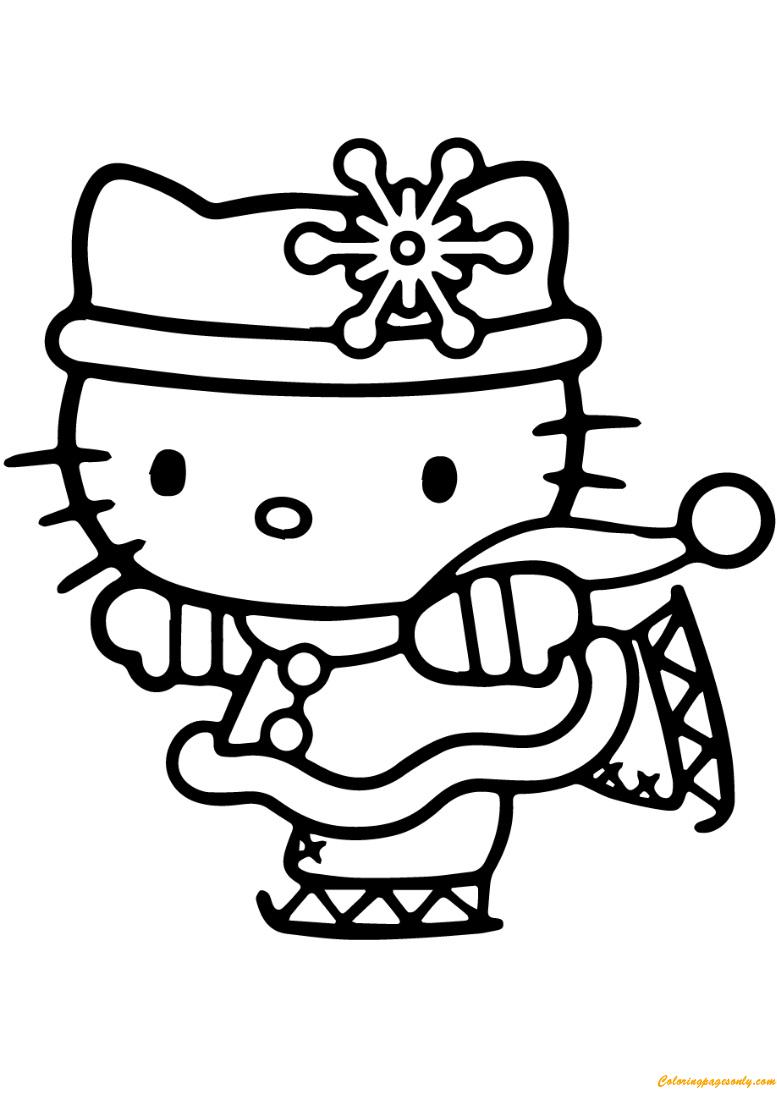 Hello Kitty Skating Coloring Page