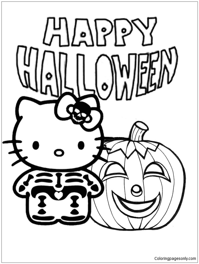 Hello Kitty Skeleton And Pumpkin Halloween Coloring Pages