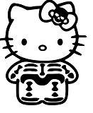 Hello Kitty Skeleton Bones Coloring Page