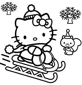 Hello Kitty Skiing In Christmas Coloring Page