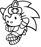 Hello Kitty Sonic Hedgehog Coloring Page