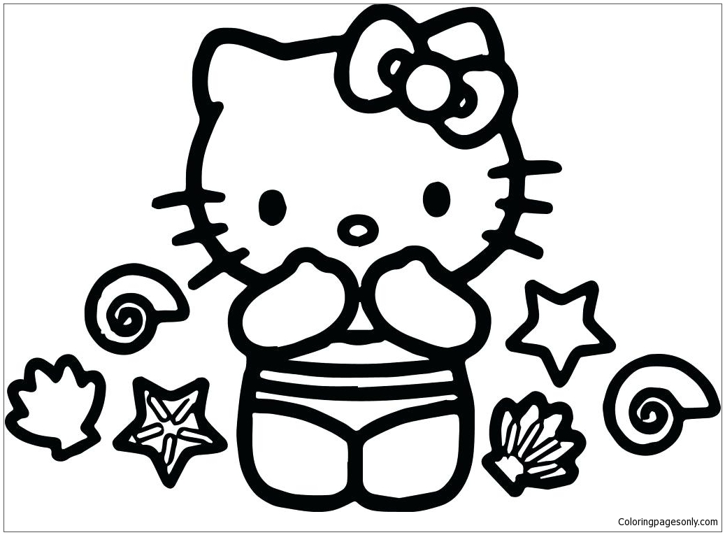 Hello Kitty Summer 1 Coloring Page - Free Coloring Pages ...