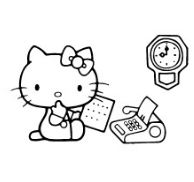 Hello Kitty Taking Paper