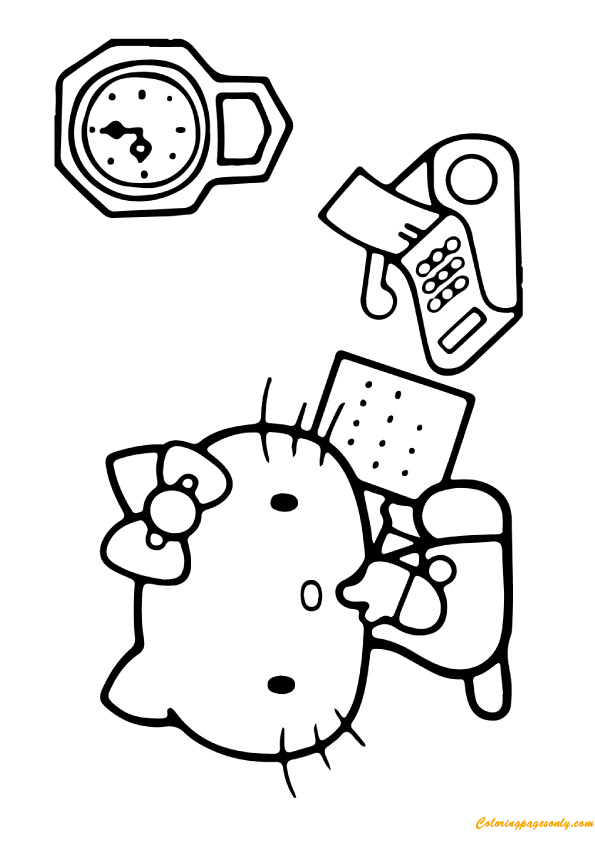 Hello Kitty Taking Paper Coloring Page