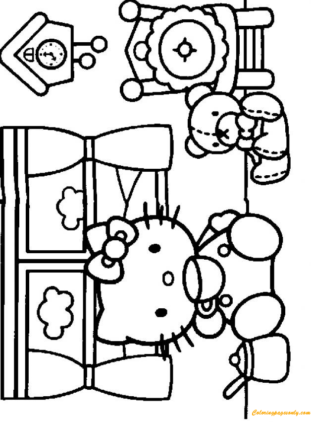 Hello Kitty Tea Time Coloring Page