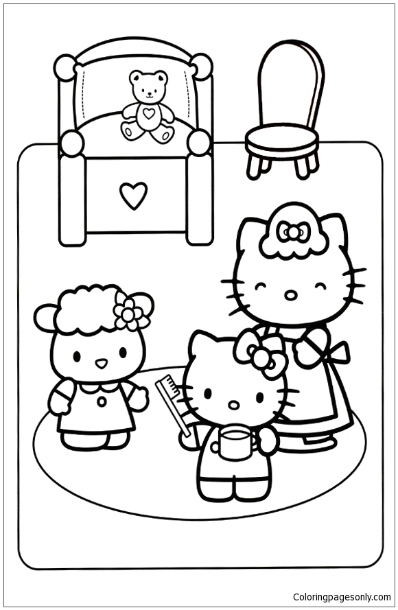 Hello Kitty To Go To Bed Coloring Page Free Coloring