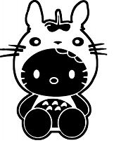 Hello Kitty Totoro Coloring Page