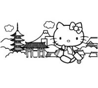 Hello Kitty Traveling Coloring Page