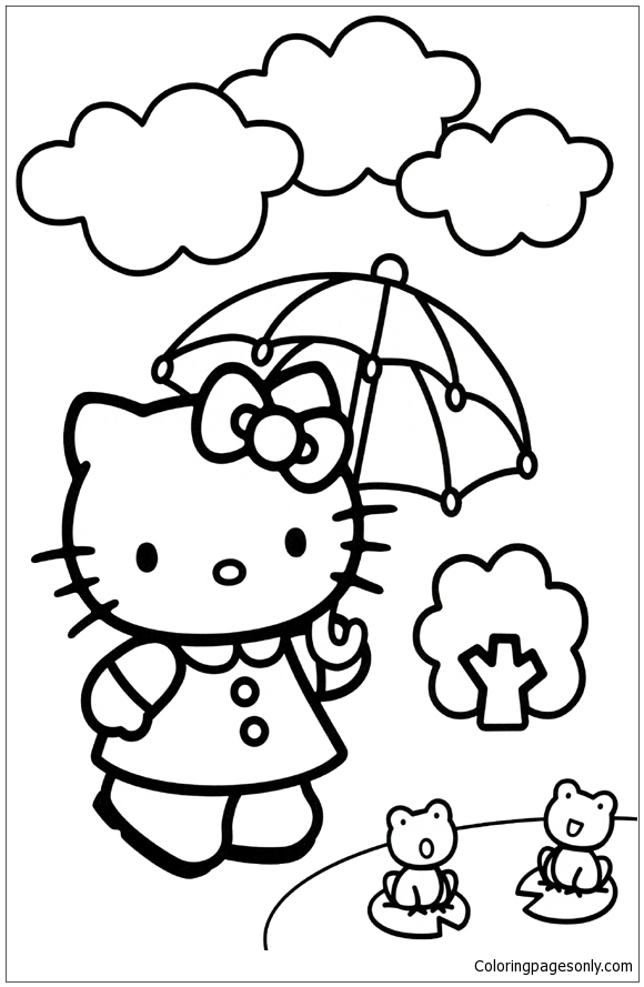 Hello kitty umbrella coloring page free coloring pages for Hello kitty summer coloring pages