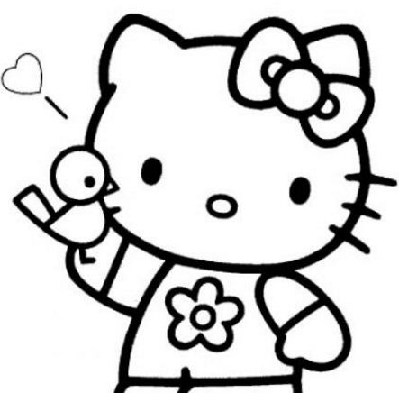 Hello Kitty With A Bird Coloring Page