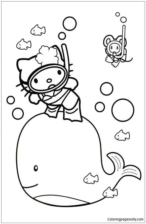 Hello Kitty With A Whale Coloring Page