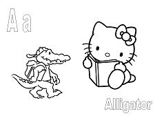 Hello Kitty with alphabet A is for the Alligator
