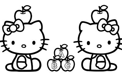 Hello Kitty With Alphabets Apple