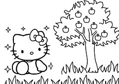 Hello Kitty With Apple Tree Coloring Page