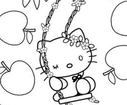 Hello Kitty With Apples Coloring Page
