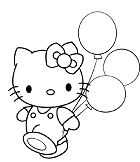 Hello Kitty With Balloon Coloring Page