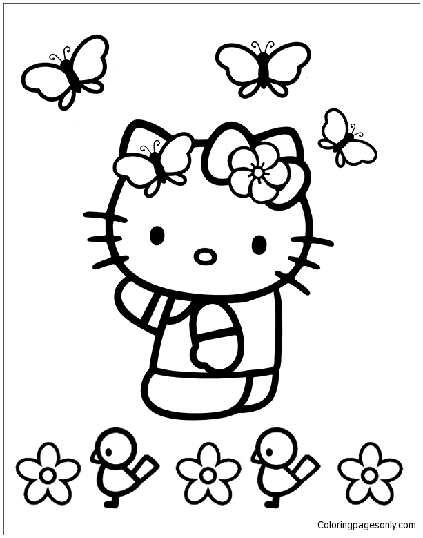 Hello Kitty with butterflies Coloring Page - Free Coloring ...