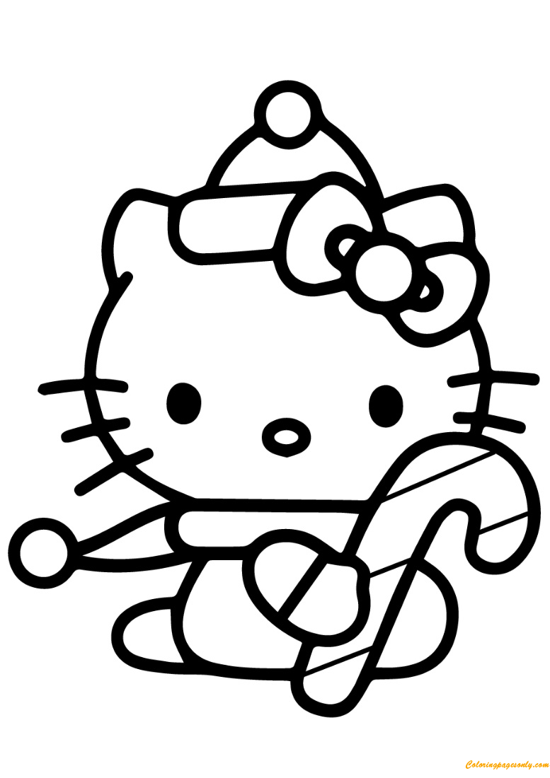 Hello Kitty Merry Christmas Coloring Pages : Hello kitty with christmas candy cane coloring page free