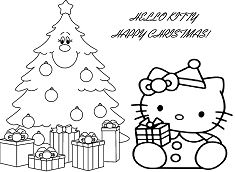 Hello Kitty With Christmas Gift Box And Christmas Tree