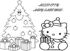 Hello Kitty With Christmas Gift Box And Christmas Tree