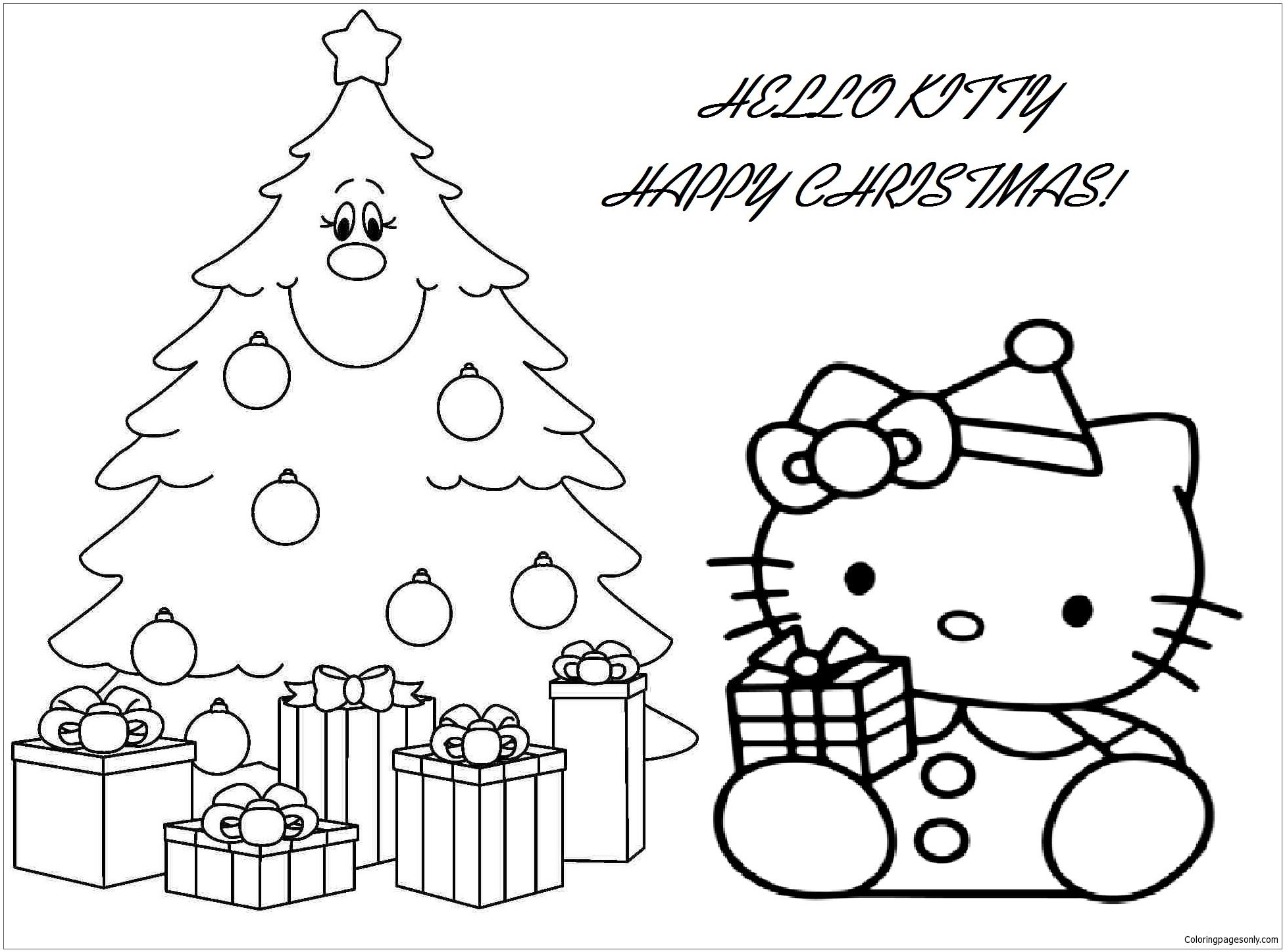 Hello Kitty With Christmas Gift Box And Christmas Tree ...