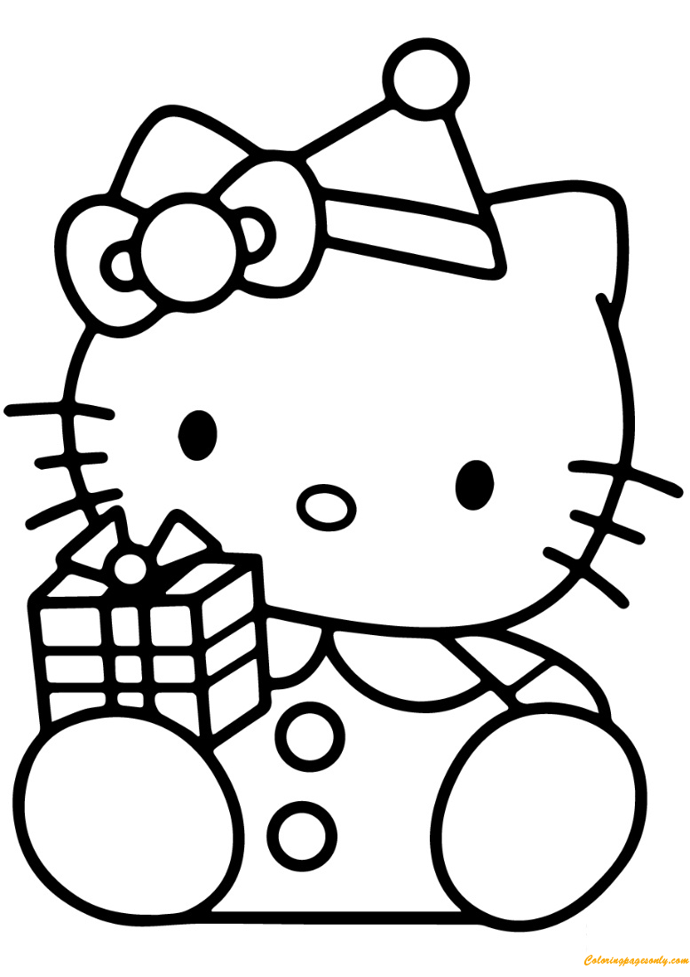 Hello Kitty With Christmas Gift Box Coloring Page