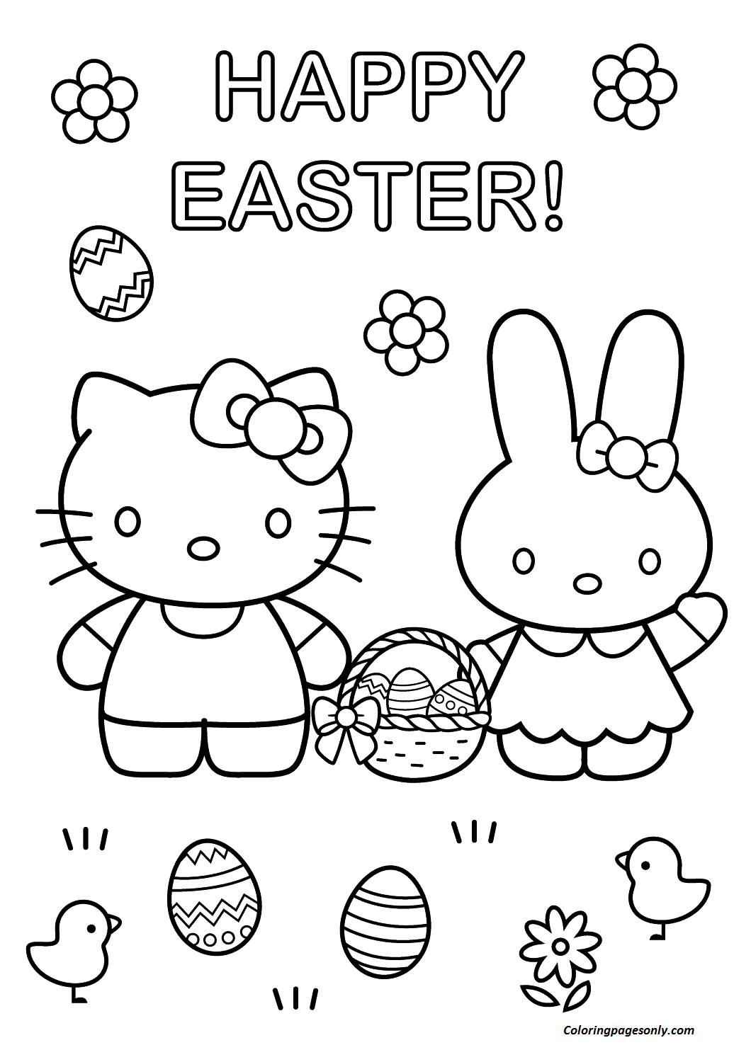 Hello Kitty With Easter Bunny Coloring Page Coloring Page Free Coloring Pages Online