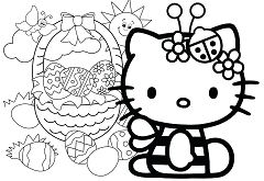 Hello Kitty with Easter Eggs 1 Coloring Page