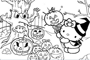 Hello Kitty with Halloween Festival Coloring Page