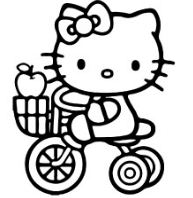 Hello Kitty With Her Bike