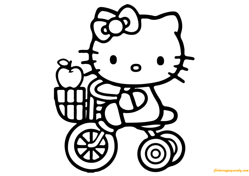 Hello Kitty With Her Bike Coloring Page Free Coloring