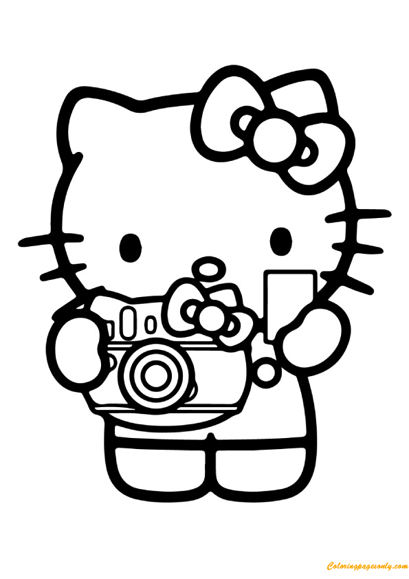 Hello Kitty With Her Camera Coloring Page