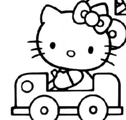 Hello Kitty With Her Car Coloring Page