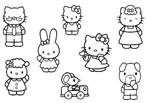 Hello Kitty With Her Friends And Family